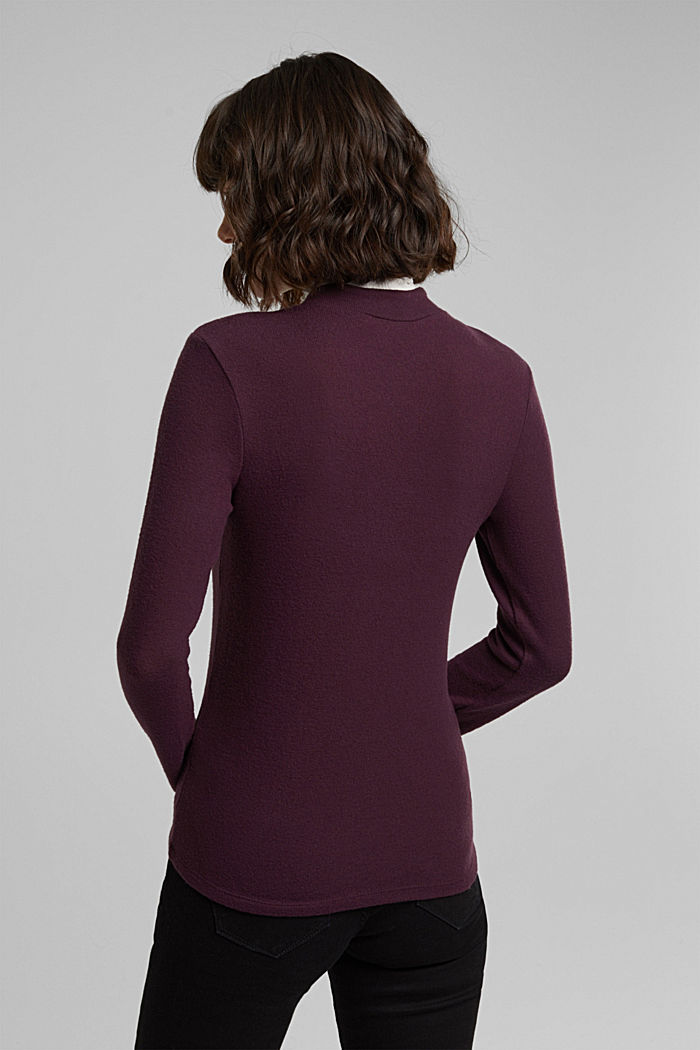 Made of TENCEL™: Mock layer long sleeve top, AUBERGINE, detail image number 3