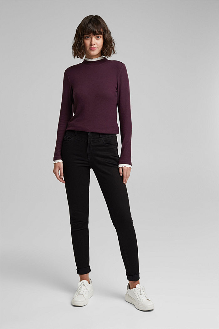 Made of TENCEL™: Mock layer long sleeve top, AUBERGINE, detail image number 1
