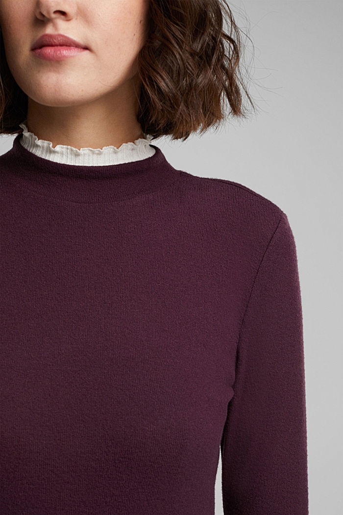 Made of TENCEL™: Mock layer long sleeve top, AUBERGINE, detail image number 2