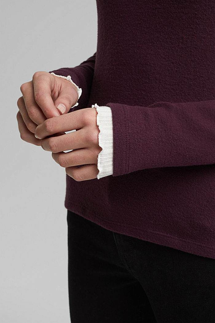 Made of TENCEL™: Mock layer long sleeve top, AUBERGINE, detail image number 5