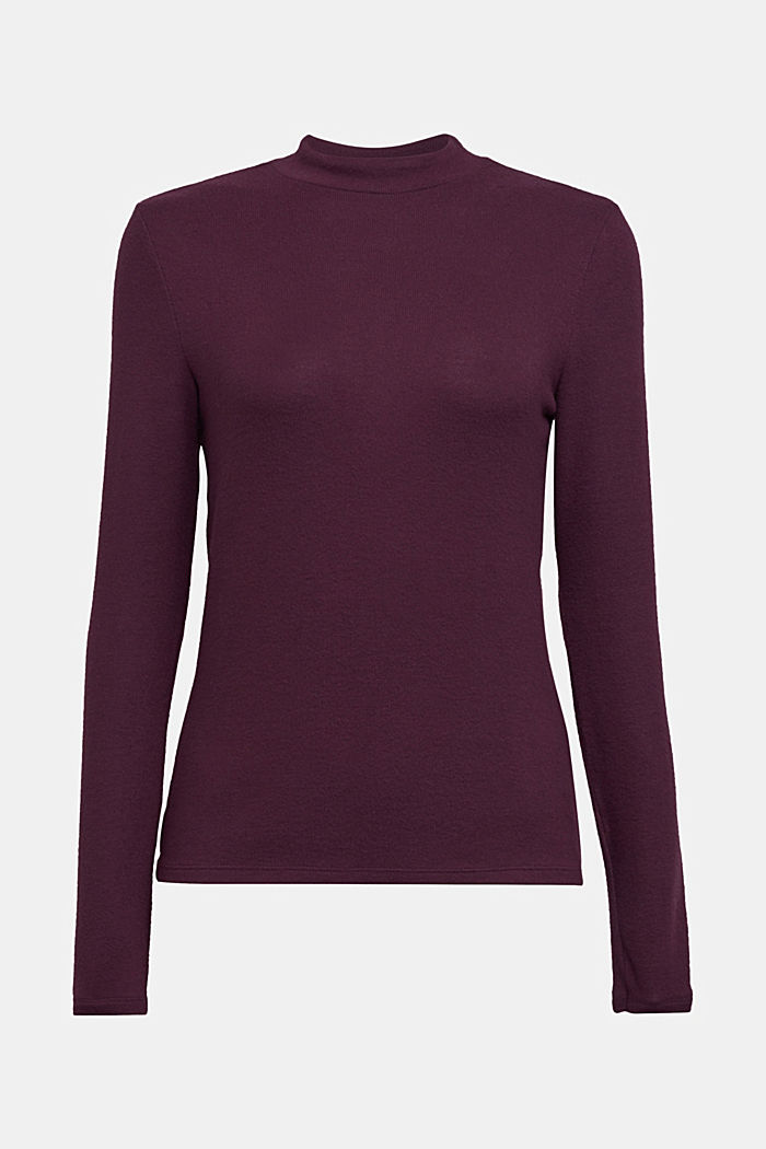 Made of TENCEL™: Mock layer long sleeve top, AUBERGINE, detail image number 7