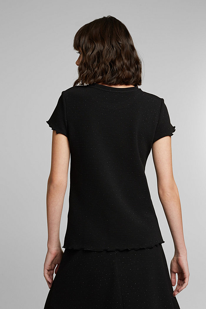 Ribbed jersey top with glitter, BLACK, detail image number 3