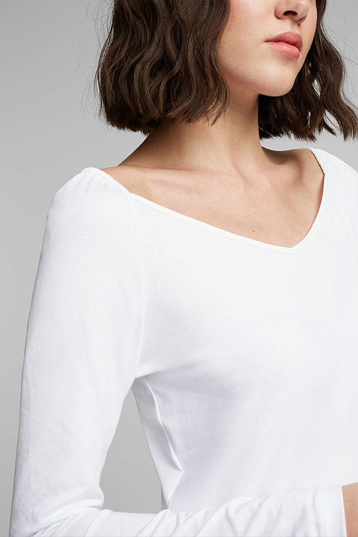 Long sleeve top with organic cotton, WHITE, detail image number 2