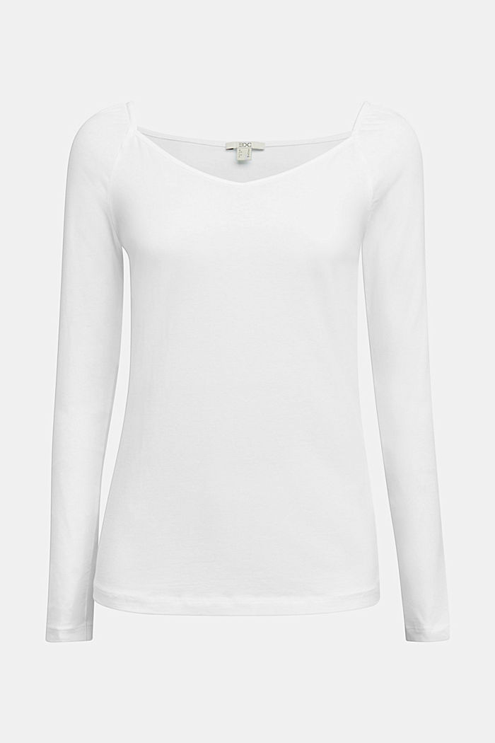 Long sleeve top with organic cotton, WHITE, detail image number 6