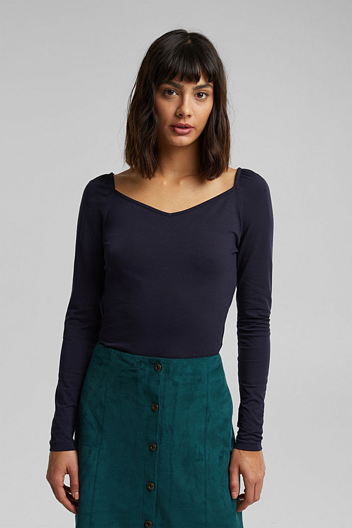 Long sleeve top with organic cotton, NAVY, detail image number 0
