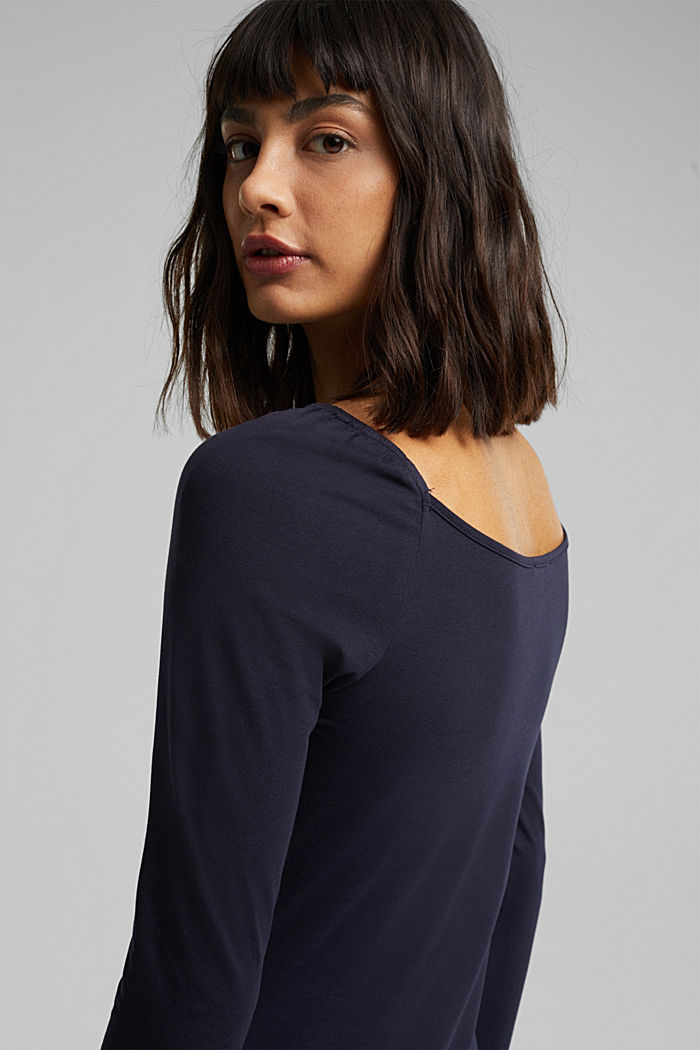 Long sleeve top with organic cotton, NAVY, detail image number 6