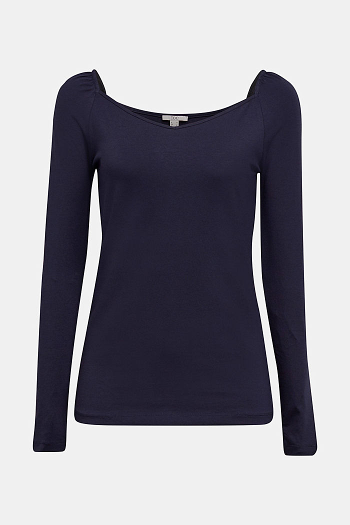 Long sleeve top with organic cotton, NAVY, detail image number 7