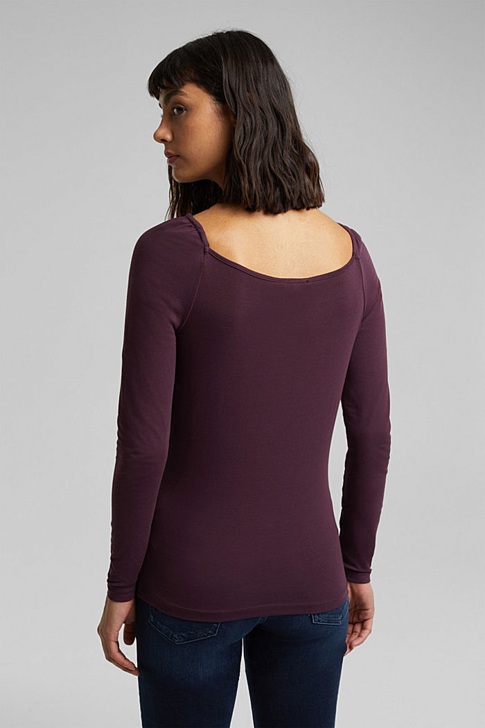 Long sleeve top with organic cotton, AUBERGINE, detail image number 3