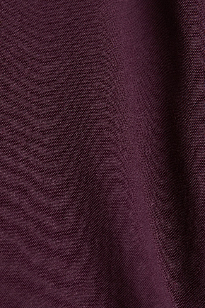 Long sleeve top with organic cotton, AUBERGINE, detail image number 4