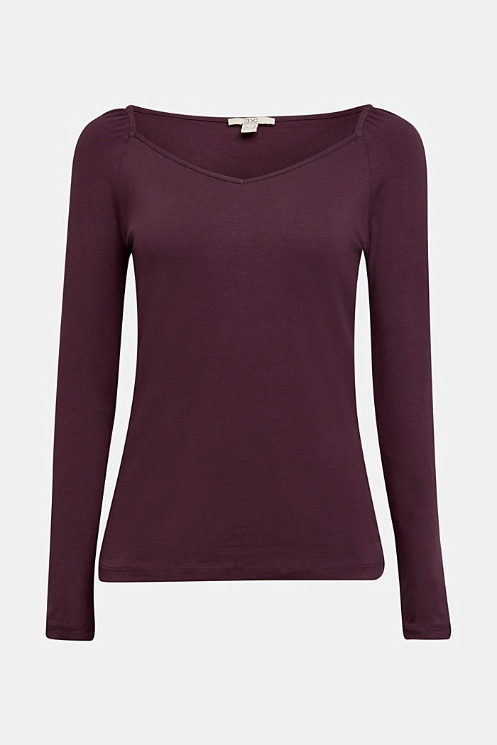 Long sleeve top with organic cotton, AUBERGINE, detail image number 5