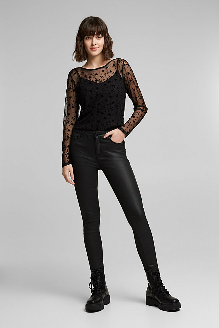 Mesh long sleeve top with velvet, BLACK, detail image number 1