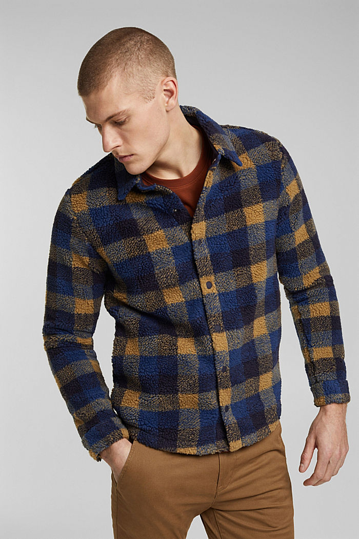 Check overshirt in plush