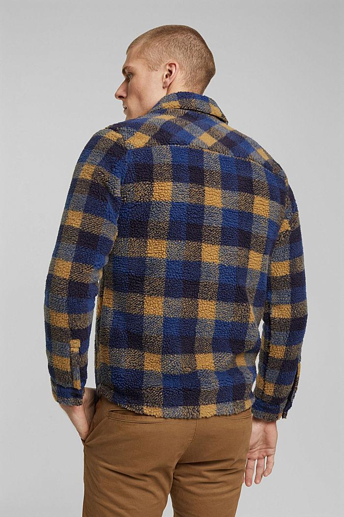 Kariertes Overshirt aus Teddyfell, DARK BLUE, detail image number 3