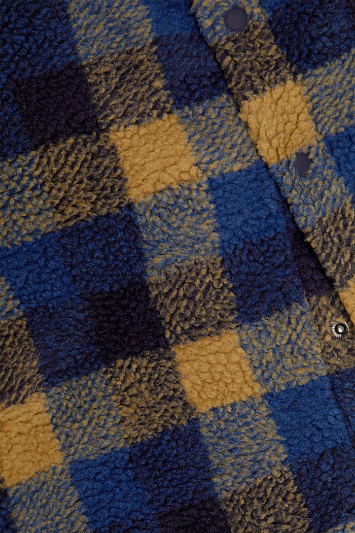 Kariertes Overshirt aus Teddyfell, DARK BLUE, detail image number 4