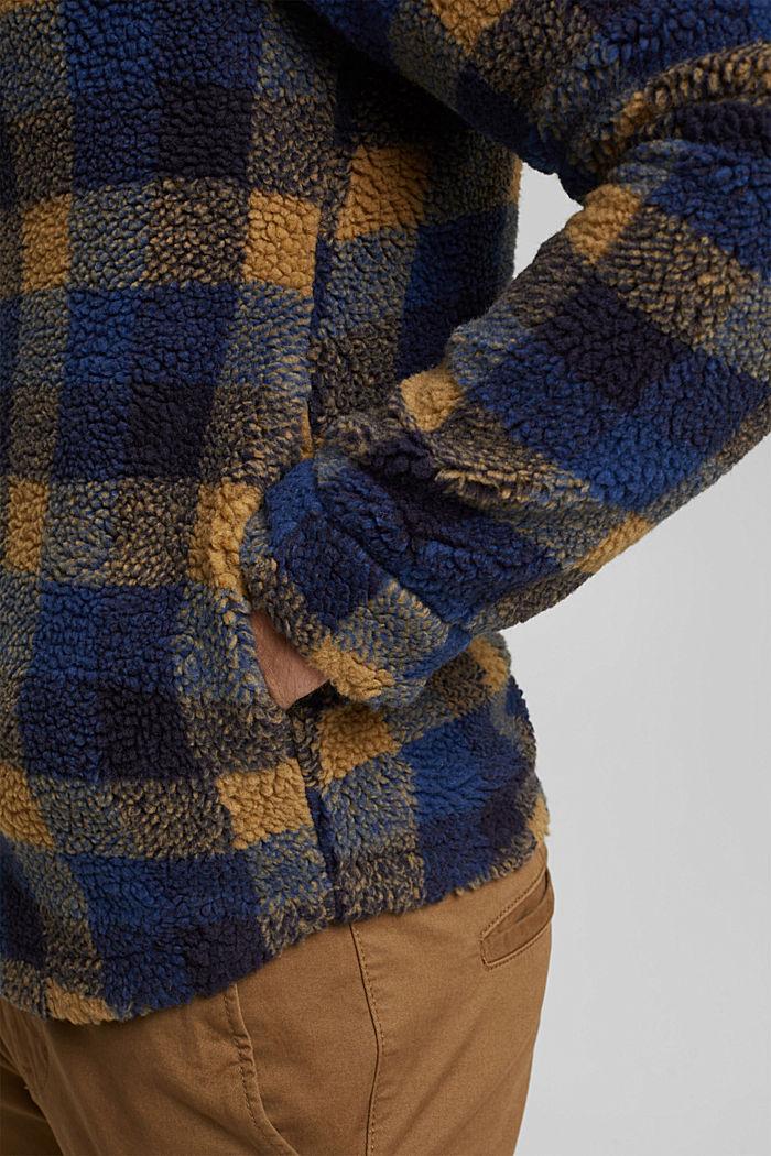 Kariertes Overshirt aus Teddyfell, DARK BLUE, detail image number 5