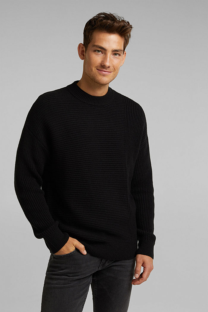 Wool blend: textured jumper, BLACK, detail image number 0