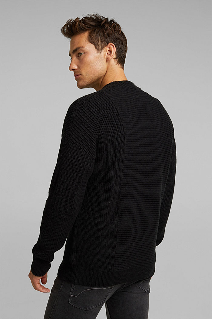 Wool blend: textured jumper, BLACK, detail image number 3