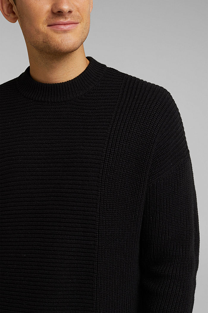 Wool blend: textured jumper, BLACK, detail image number 2