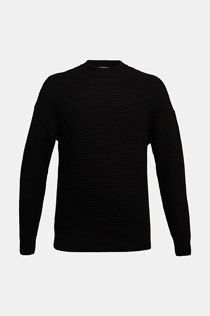 Wool blend: textured jumper, BLACK, detail image number 5