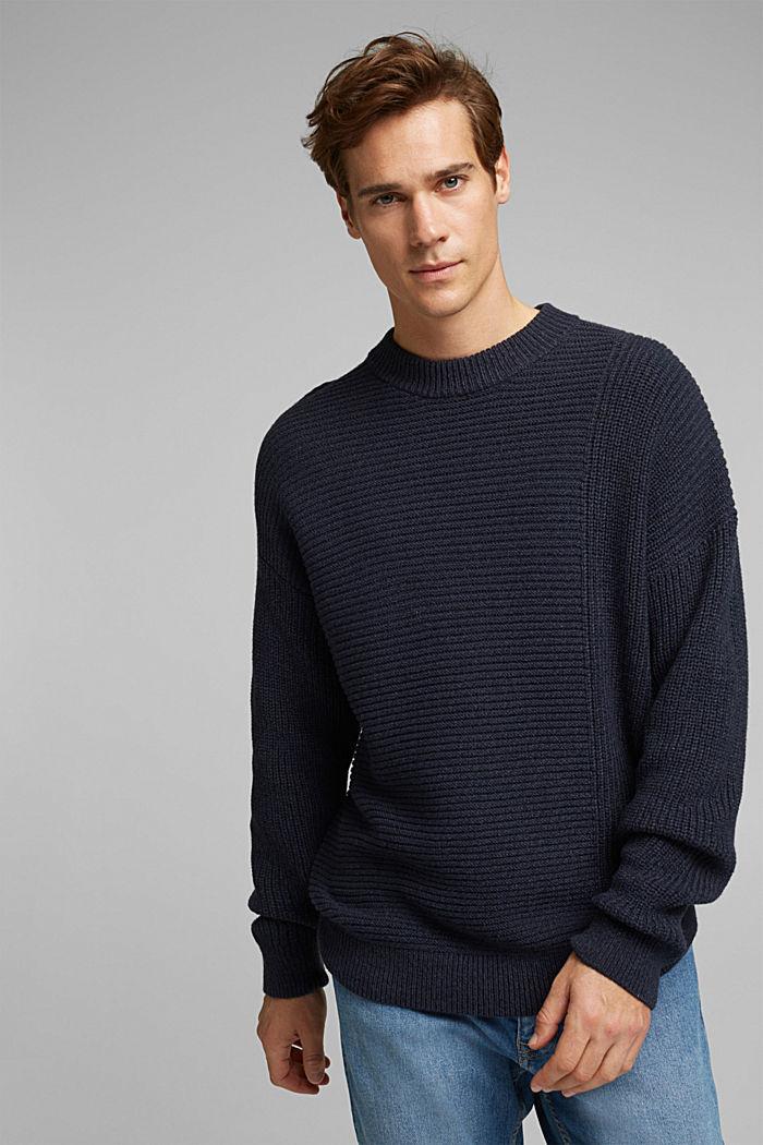 Wool blend: textured jumper, NAVY, detail image number 0