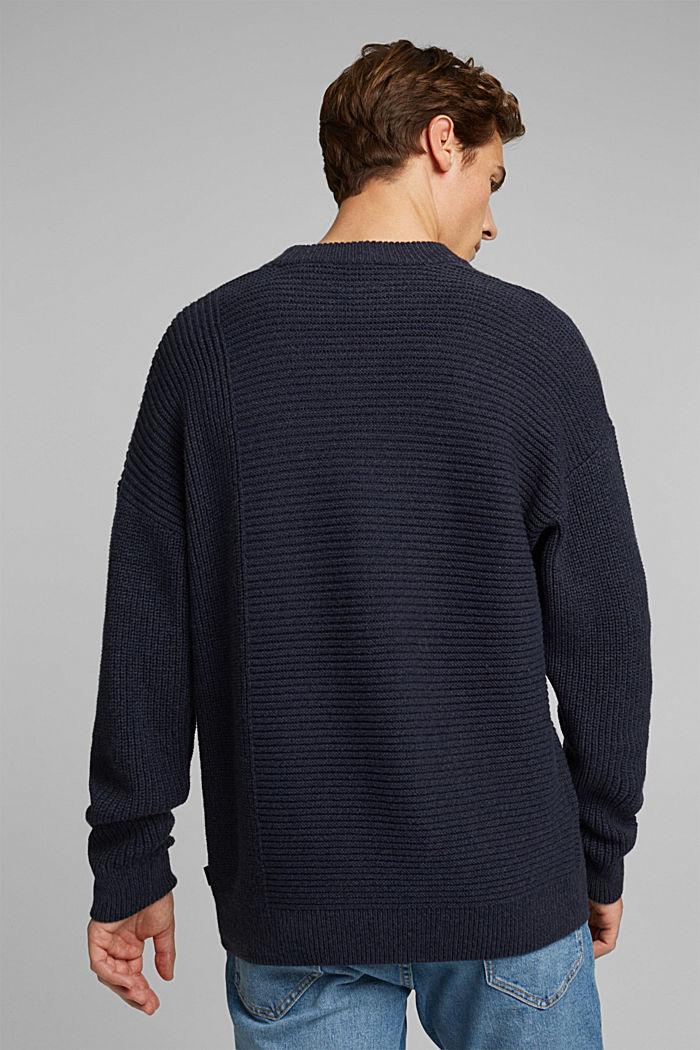 Wool blend: textured jumper, NAVY, detail image number 3