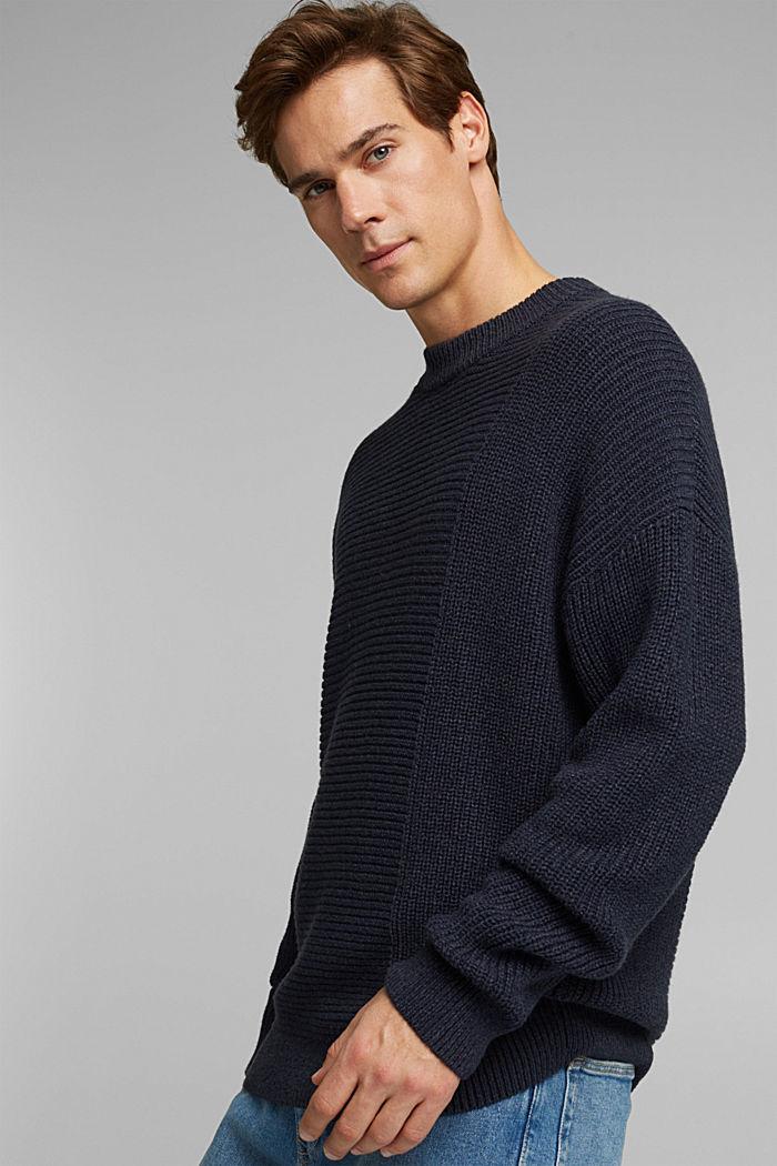 Wool blend: textured jumper, NAVY, detail image number 6