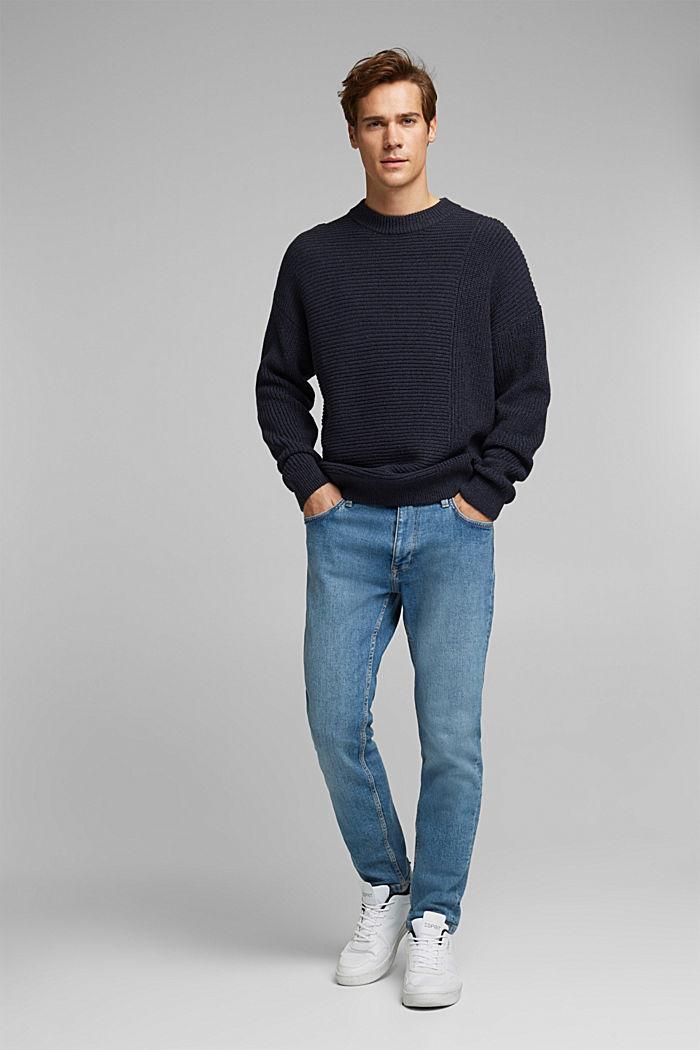 Wool blend: textured jumper, NAVY, detail image number 5