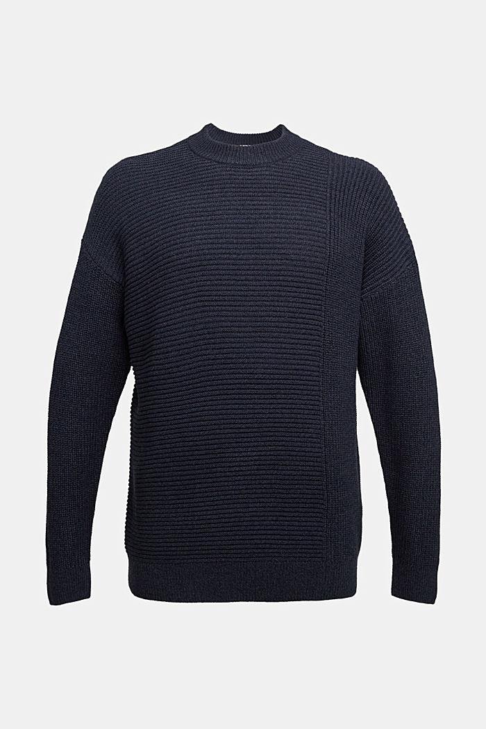 Wool blend: textured jumper, NAVY, detail image number 4