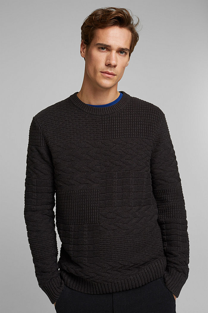 Textured jumper in blended cotton, ANTHRACITE, detail image number 0