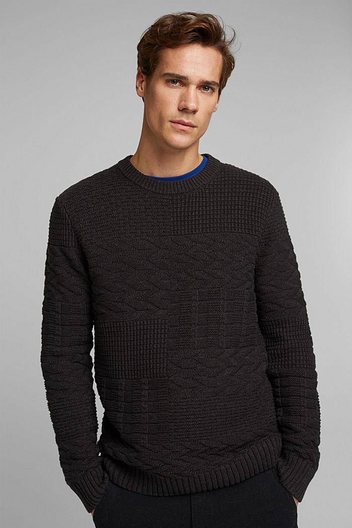 Textured jumper in blended cotton, ANTHRACITE, detail image number 0