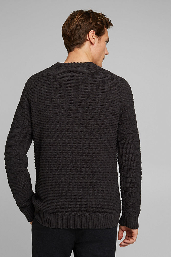Textured jumper in blended cotton, ANTHRACITE, detail image number 3