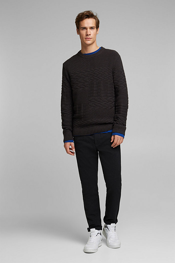 Textured jumper in blended cotton, ANTHRACITE, detail image number 6