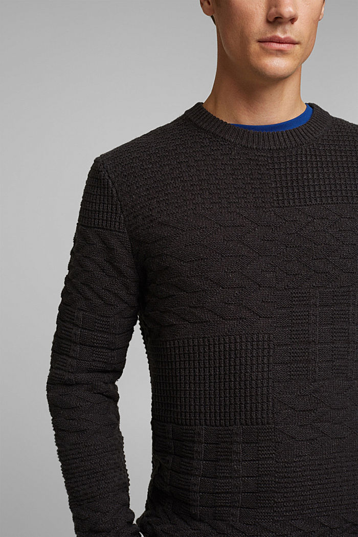 Textured jumper in blended cotton, ANTHRACITE, detail image number 2