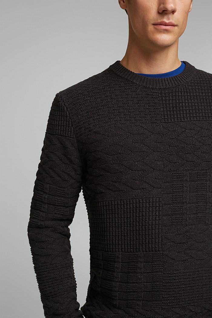 Textured jumper in blended cotton, ANTHRACITE, detail image number 2