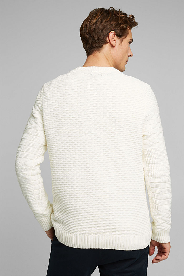 Textured jumper in blended cotton, OFF WHITE, detail image number 3