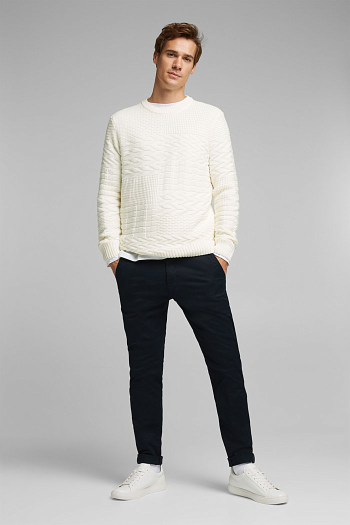 Textured jumper in blended cotton, OFF WHITE, detail image number 1