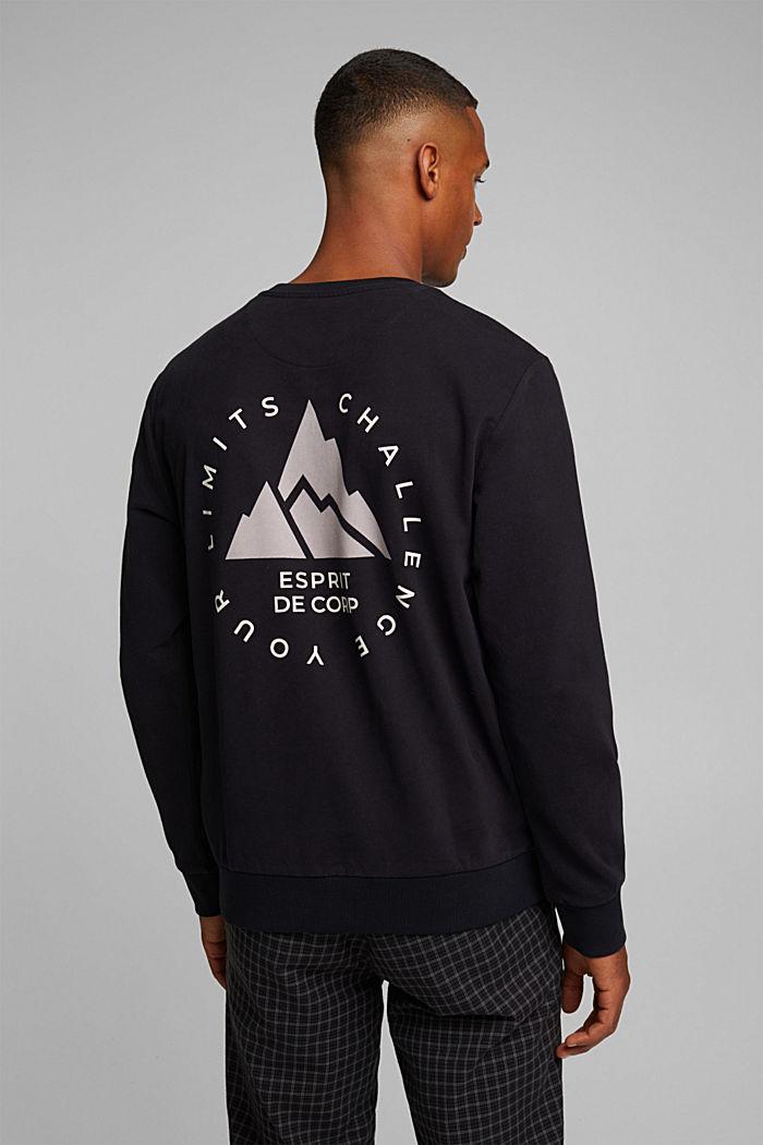 Print sweatshirt in 100% cotton, BLACK, detail image number 3