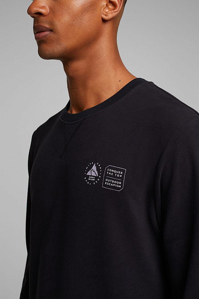 Print sweatshirt in 100% cotton, BLACK, detail image number 2