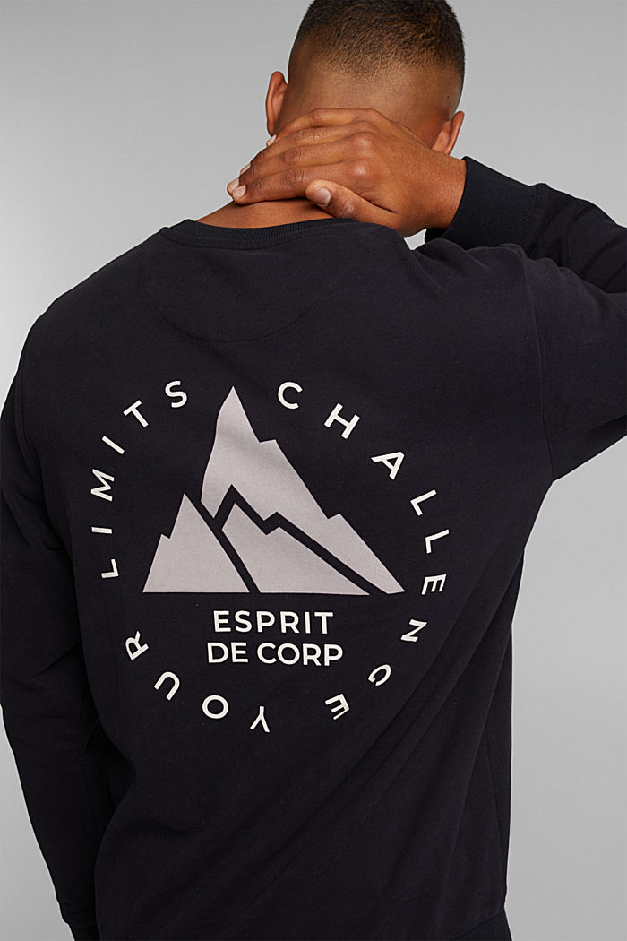 Print sweatshirt in 100% cotton, BLACK, detail image number 6