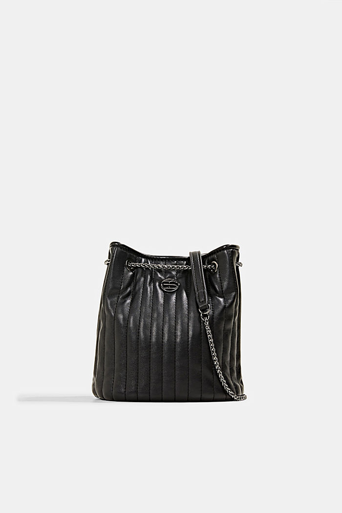 Small shoulder bag with chain straps, BLACK, detail image number 0