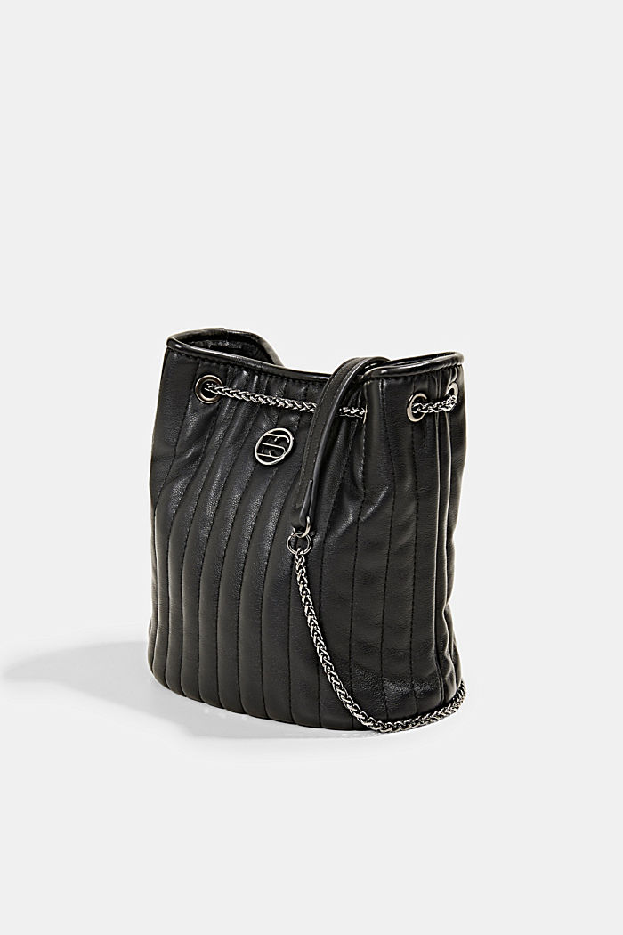 Small shoulder bag with chain straps, BLACK, detail image number 2
