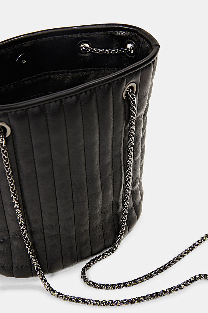 Small shoulder bag with chain straps, BLACK, detail image number 4