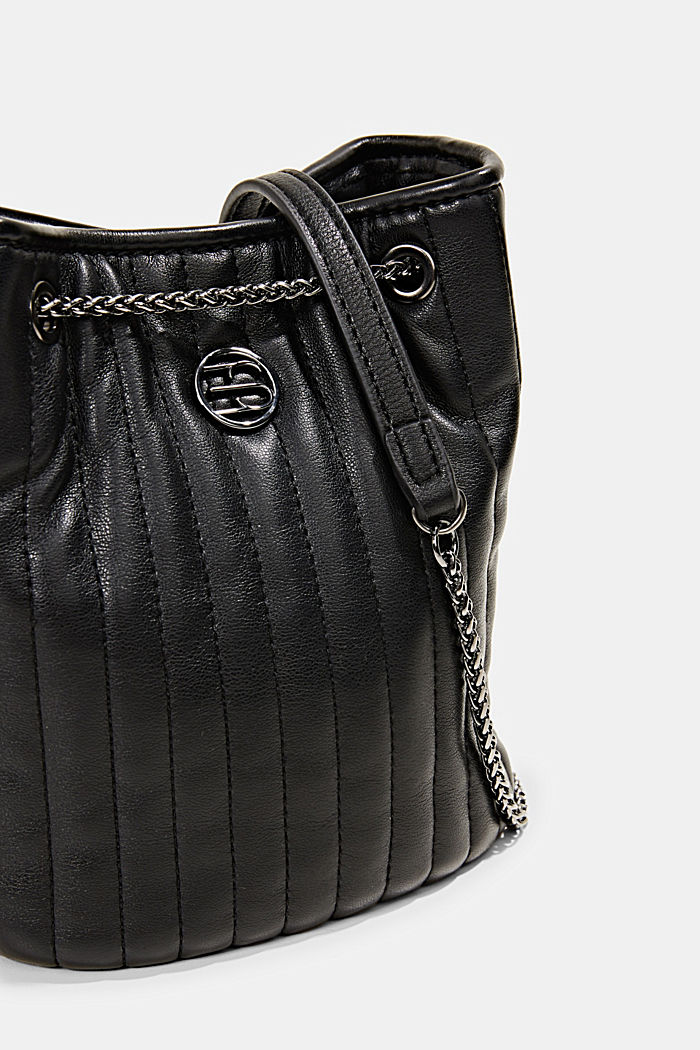 Small shoulder bag with chain straps, BLACK, detail image number 3