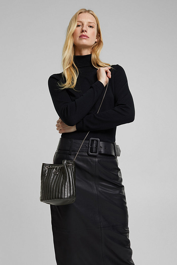 Small shoulder bag with chain straps, BLACK, detail image number 1