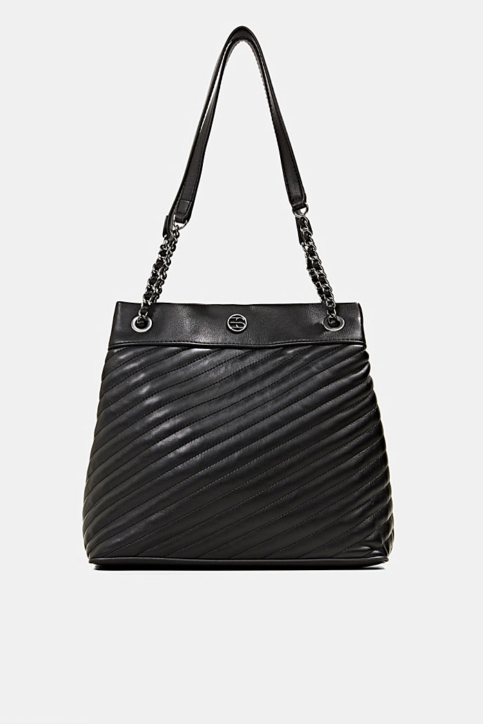 Vegan shopper with textured quilting, BLACK, detail image number 0