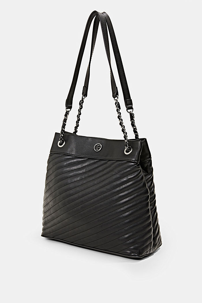 Vegan shopper with textured quilting, BLACK, detail image number 2