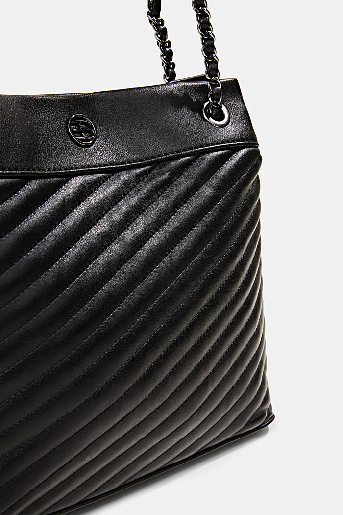 Vegan shopper with textured quilting, BLACK, detail image number 3