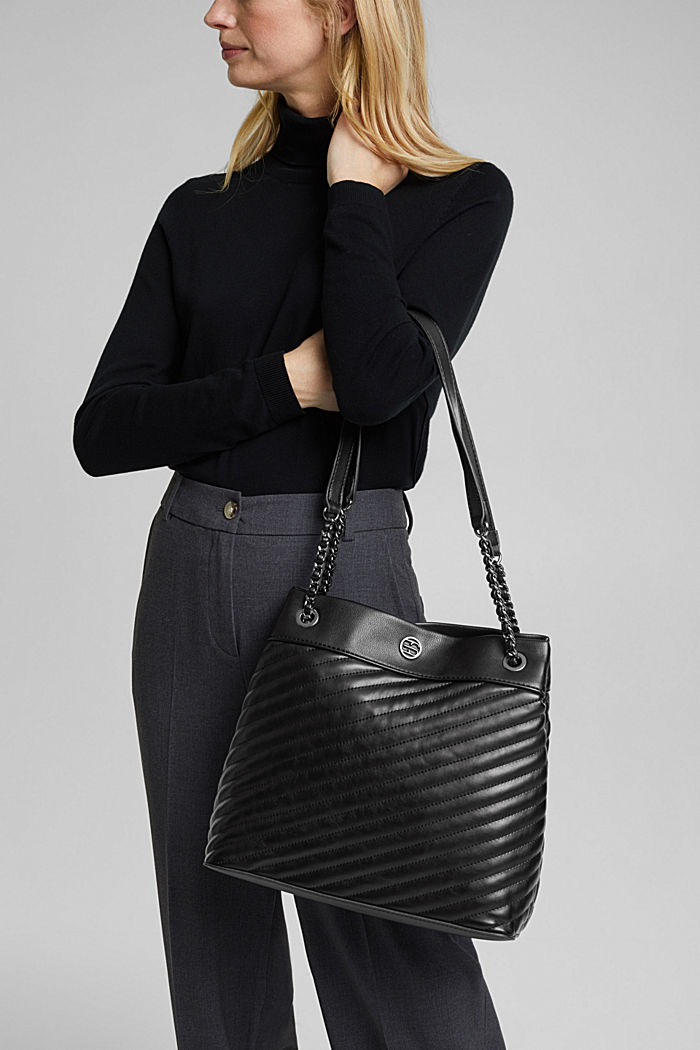 Vegan shopper with textured quilting, BLACK, detail image number 1