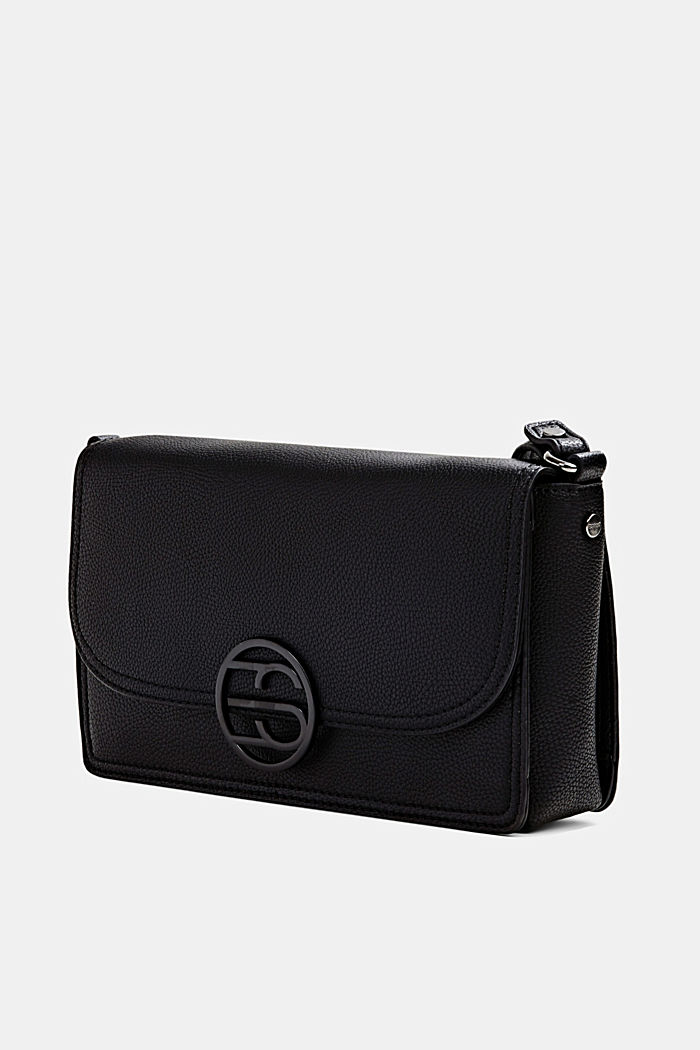 Vegan: faux leather shoulder bag, BLACK, detail image number 2