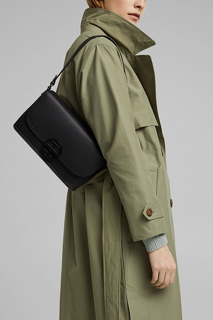 Vegan: faux leather shoulder bag, BLACK, detail image number 6